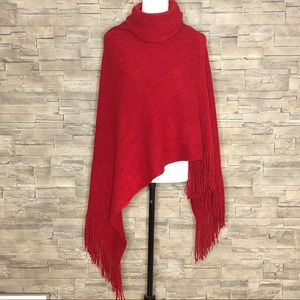 Red ribbed-knit cowl-neck poncho